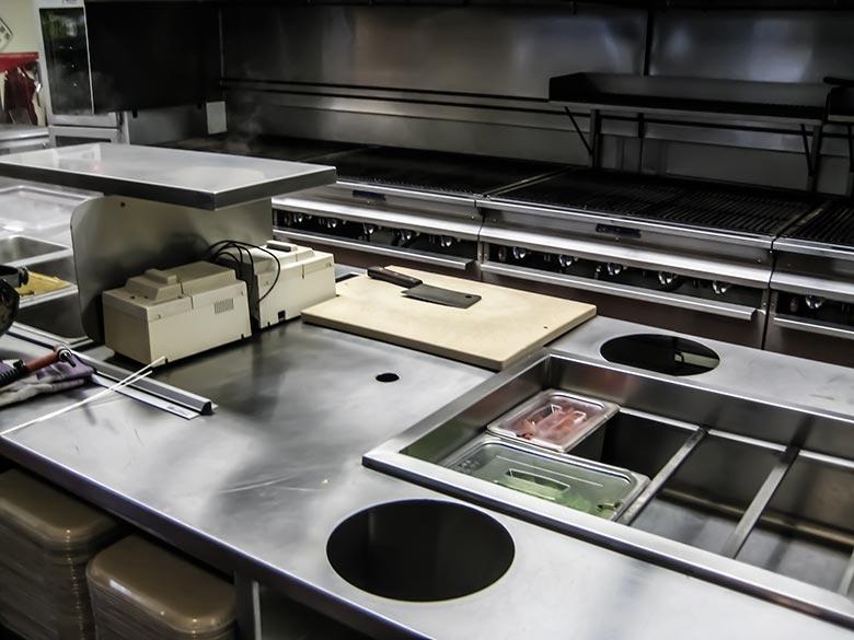 Custom fabricated stainless steel countertop